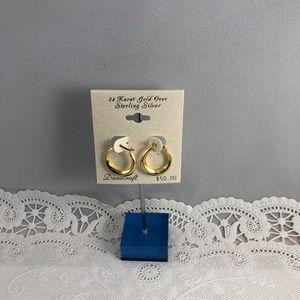 Danecraft Accessories - Vintage 3/4in 24K Gold over 925 Silver Huggy Hoops